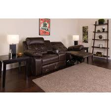 flash furniture reel comfort series 2 seat reclining brown leather theater seating unit with straight cup holders bt705302brn the home depot
