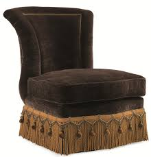 Schnadig Bedroom Furniture Schnadig Evelyn Armless Slipper Chair With Crystal Bead Button