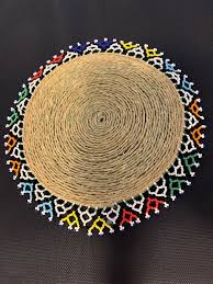 indian rustic 12 handwoven jute hessian table mat round hand beaded edging 1 pc