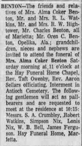 Obituary for Alma Coker BENTON - Newspapers.com