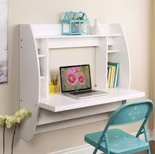 inspiring white floating desk for small spaces in teenage girls bedroom