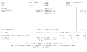 Payslip Template For Payroll Malaysia Smart Touch Technology