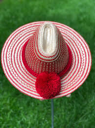 Unique Red Sombrero Straw Summer Hat with Pompoms/ Fedora Hat/ Wide Brim Beach Sun Hats/ Floppy Womens hats by YoLineXL