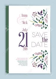 Save The Date Wedding Invitation Card Design Template With Botanical