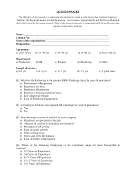 Sample Employee Questionnaire Questionnaire On Employee Attrition