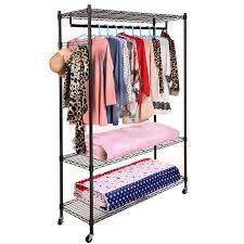 homdox portable 3 tier wire shelving clothes shelf closet organizer garment rack side hooks wheels com
