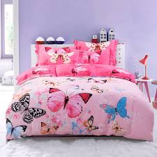 hot pink blue and black erfly bedroom ideas for girls pastel style 100 brushed cotton full queen size bedding sets