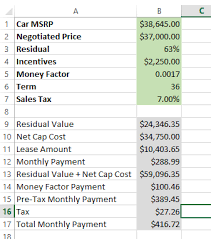 car leases calculator lease calculator i built in excel is my math right