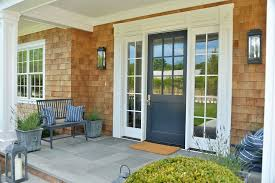 cottage front doorsCottage Front Door with exterior stone floors  Glass panel door