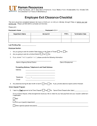 Employee Clearance Form Simple Employee Exit Clearance Checklist Form University Of Texas At