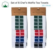 details about set of 8 chef s waffle cotton kitchen tea towels 50 x 70 cm by j elliot