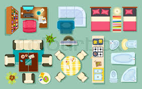 designer office desk isolated objects top view. Flat Interior Top View. Living Room, Bathroom, Bedroom. Kitchen, Office Room. Modern Furniture In Isometric Style. Pieces Of And Household Designer Desk Isolated Objects View I