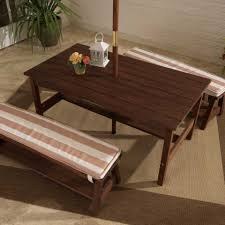 outdoor table bench set with cushions umbrella oatmeal white stripes