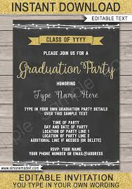 Senior Party Invitations Graduation Party Invitations Template Gold