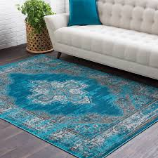 details about posey vintage distressed blue 2 x 3 area rug