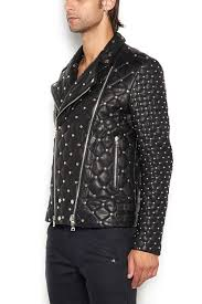 balmain men balmain leather biker jacket black balmain jackets