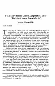 don bosco s second great hagiographical essay the life of young  don bosco s second great hagiographical essay the life of young dominic savio journal of sian studiesjournal of sian studies
