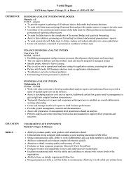 Business Analyst Intern Resume Samples Velvet Jobs