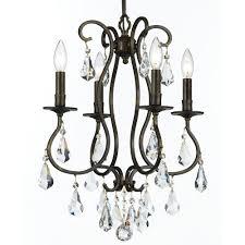 crystorama ashton 4 light clear crystal bronze mini chandelier