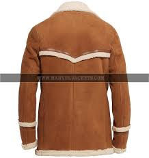 kingsman golden circle harry hart brown suede leather long fur coat mens jacket