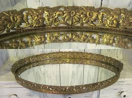 golden color oval large vanity mirror tray vintage