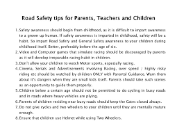 an essay on road safety