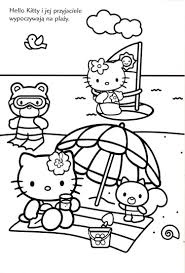 Click on the free hello kitty colour page you would like to print, if you print them all you can make your own. Hello Kitty At The Beach In Black And White Hello Kitty Coloring Hello Kitty Drawing Kitty Coloring