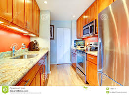 Narrow Kitchen Narrow Kitchen Room With Long Grey Counters Stock Photo Image