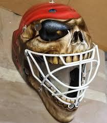 Pirate skull themed goalie mask painted with Badger Sotar, Badger Xtreme  Patriot and Renegade Krome. https://www.facebook.com/… | Goalie mask, Mask  painting, Goalie