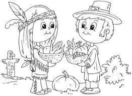Pilgrim And Indian Coloring Pages Printable For Kids 2018 Inside