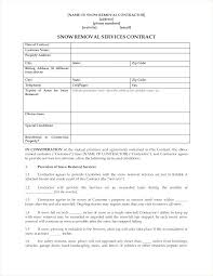 Catering Contract Example Snow Plow Template Removal