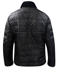 mens leather padded jacket detachable faux fur collar zip up lined winter coat