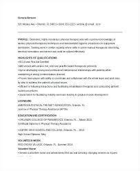 Physical Therapy Assistant Resume
