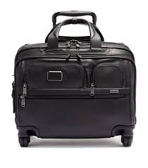 tumi alpha 3 leather deluxe 4 wheel laptop briefcase in black