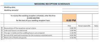 Wedding Day Timeline Excel Checklist Template Wedding Day Timeline Dj Reception