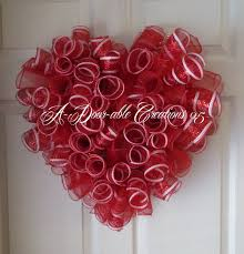 VALENTINE HEART SHAPED..Red and White Spiral Deco Mesh Wreath. $49.00, via