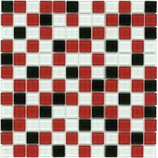 Kitchen Backsplash Red Mineral Tiles Glass Mosaic Tile Backsplash Red Black 1x1 1160