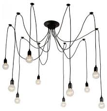 10 light black industrial edison spider chandelier pendant lights adjule