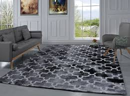 modern moroccan geometric design carpet area rug for living room bedroom black 1 of 5free