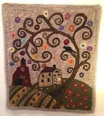 folk art rugs 4 of 5 rug hook paper pattern swirl tree house barn abstract by