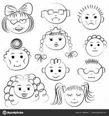 Disegni Facce Buffe Per Bambini Set Di Dieci Bambini Svegli