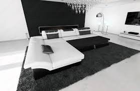 Details Zu Leder Couch Sofa Design Ecksofa Monza L Form Ottomane Weiss Led Ecksofa Modern