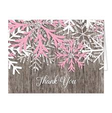 snowflake thank you cards rustic winter wood pink snowflake thank you cards online at
