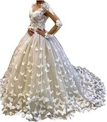 Amazon.com: Aries Tuttle 3D Butterfly Lace Puffy Wedding Dress White/Ivory  Long Sleeve Bridal Gown: Clothing