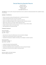 Sample Reporting Specialist Resume Resame Pinterest