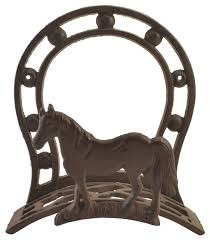 cast iron hose holder horse and horseshoe 10 75 tall