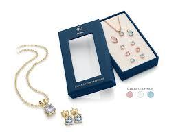 image of aura tri colour crystal pendant earring set