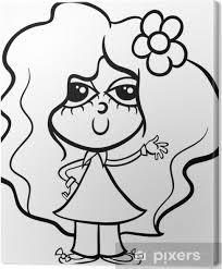 Canvas Schattig Meisje Cartoon Kleurplaat Pixers We Leven Om Te