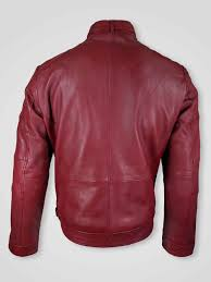 men s moto biker jacket with 2 patch pockets in front and belted collar in wine