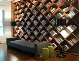 Home library with diagonal book shelves
